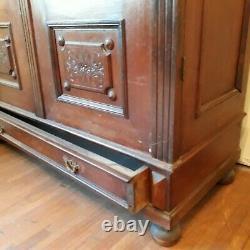 Antique solid wood Armoire Wardrobe/Cabinet Closet. Pre Century late 1800s