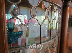 Beautiful late 1800s Antique Lead Glass China Cabinet
