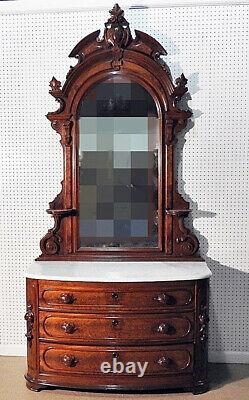 Burled Walnut Marble Top Late Victorian Mirrored Dresser with Mirror circa 1890s