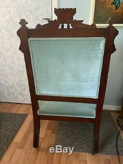 Charles Eastlake Style Armchair, Blue Silk Velvet Upholstery, Late 19th Century