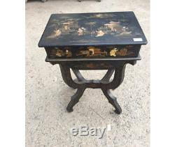 Chinese rectangular coffee table painted on Chinese lacquer. Period Late 1800 /