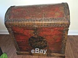 Continental late 1700's wooden dome, leather and metal trunk. European