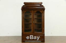 Country Late Victorian Eastlake Antique Cherry Bookcase or Bath Cabinet #33979