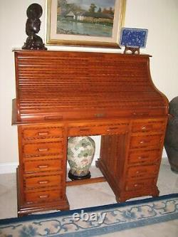 Desk, Roll Top antique solid wood handcrafted late 19th or early 20th century