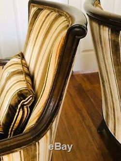 Drexel Heritage Furnishings Late Mid Century Brown Strip Velvet Accent Chairs