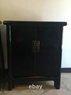 Elegant Pair of Qing, Late 19th C. Black Lacquer Tapered Chinese Cabinets