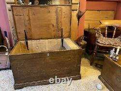 Fabulous Late Georgian Vintage Antique Old Pine Chest / Trunk / Large Box