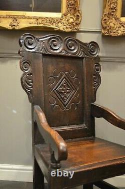 Fabulous Oak Wainscot Chair From Late 17th Century C1680