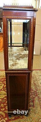 Fantastic Late 19th Century Inlaid Display China Cabinet Attributed to RJ Horner