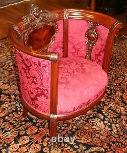 Figural Mahogany Late 19th Century Victorian Barrel Lounge Chair Attr to Karpen