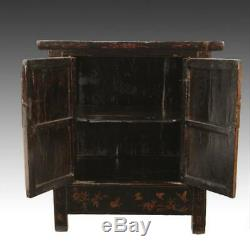 Fine Antique Chinese Shanxi Painted Lacquered Elm Wood Cabinet China Late 19th C