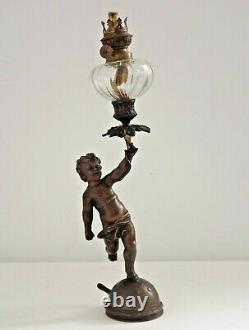 French Bronzed Spelter Late 19th Early 20th Century Cupid Style Oil Lantern 2503