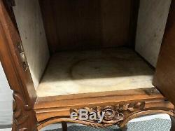French Late 1800's Solid Carved Walnut Marble Top Nightstand Side End Table