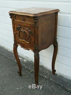French Late 1800s Carved Tall Inlay Marble Top Nightstand Side End Table 9691