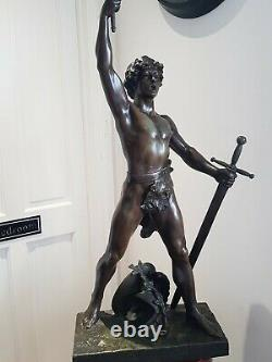 French Late 19th Century 4f Spelter Warrior Statue Lamp'FABRICATION FRANCAISE