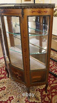 French Two Door Vernis Martin Vitrine China Curio Late 19th Early 20th Century
