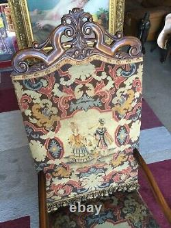 French Walnut Throne Arm Chair Needlepoint Tapestry Late 19 C. Louis XIV