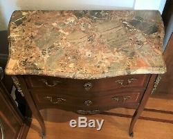 French Walnut Wood Marble Topped Commode Side Table. Late 19th Century