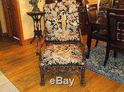French walnut throne arm chair needlepoint tapestry late 19 th century louis XIV