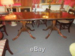 Georgian Style Mahogany two-pillar Dining Table, late 19th c