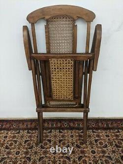 Gorgeous Authentic late 1800s Adam Colignon Folding Cruise Line Cane Deck Chair