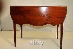 Gorgeous English Sheraton Inlaid Solid Mahogany Pembroke Table, Late 18th C