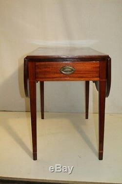 Gorgeous English Sheraton Inlaid Solid Mahogany Pembroke Table, Late 18th C