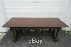 Gothic Heavy Carved Solid Oak Late 1800s Large Console Dining Table 1234A