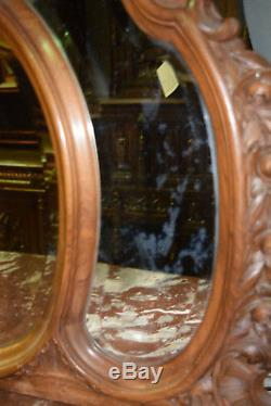 Great French Louis XV Dresser and Mirror, Marble Top, Late 19th Century, Walnut