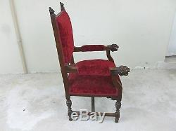 Great Late Victorian Desk Armchair With Lion Head Arms And Lion Head Crests