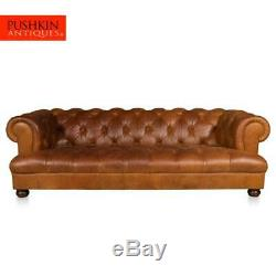 LARGE LATE 20thC 3 SEATER CHESTERFIELD LEATHER SOFA WITH BUTTON DOWN SEAT