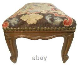 LATE 19TH C ANTIQUE BAROQUE 6-LEGGED WALNUT OTTOMAN, WithPEACOCK EMBR'D WOOL COVER