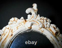 LATE 19TH C ANTIQUE VICTORIAN CAST IRON VANITY ORNATE MIRROR STAND, WithORIG PAINT