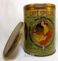 LATE 19TH C VINT ART NOUVEAU BELGIAN'DEMOULIN CAFE SPECIAL' COFFEE TIN WithLID