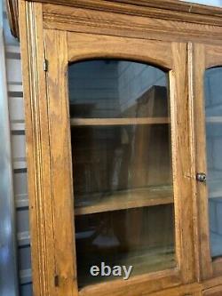 LATE 19TH CENTURY 2 PC Oak BUFFET KITCHEN CUPBOARD HUTCH, drawers, glass doors