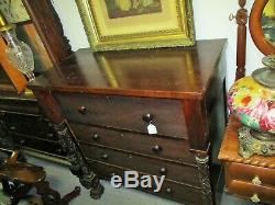 LATE 19TH CENTURY EMPIRE REVIVAL DRESSER With CARVED COLUMNS & PAWFEET