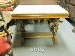 LATE 19TH CENTURY SPANISH REVIVAL WALNUT With MARBLE TOP TABLE With IRON WORK