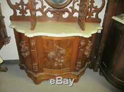 LATE 19TH CENTURY VICTORIAN WALNUT ROCOCO RENAISSANCE ETAGERE SHELF With MARBLE