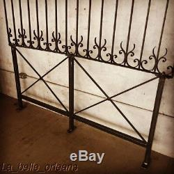 LATE 19THc WROUGHT IRON FENCE PANEL CUSTOM MADE BED HEADBOARD. QUEEN SIZE. L@@k