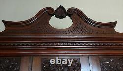 LATE 19thC FRENCH MAHOGANY WARDROBE/ARMOIRE withINLAY, CARVINGS, BEVELLED MIRRORS