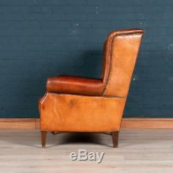 LATE 20thC DUTCH LEATHER WING-BACK SHEEPSKIN LEATHER ARMCHAIR