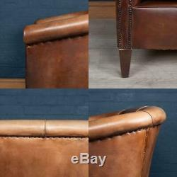 LATE 20thC DUTCH TWO SEATER LEATHER SOFA c. 1970