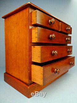 LATE VICTORIAN 19thC ENGLISH MAHOGANY MINIATURE CHEST OF DRAWERS, c 1880-90