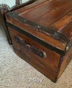 Large Antique Mid to Late 1800s Wooden Travel Trunk, Original Leather Handles