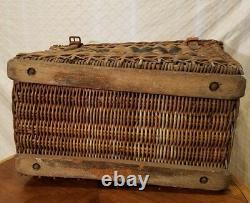 Large Antique Rattan/Wicker Steamer Ship Trunk, Iron hardware, circa late 1800's