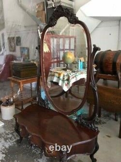 Large Antique Victorian Dressing Table Pira Mirror Late 1800s