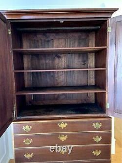 Large Late 18th Century George III Flame Mahogany Linen Press