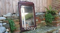 Large Ornate Vintage Late Victorian Bevelled Wall Mirror