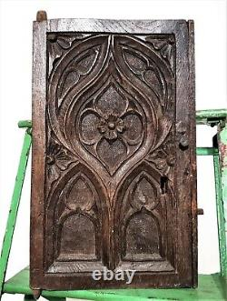 Late 15th c flamboyant gothic tracery panel Antique french oak carving furniture