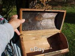 Late 1700's Early 1800's Hide Covered Document Trunk With Brass Tacks